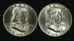 Lot Of 2 1954 D Franklin Silver Half Dollars Both Have Reverse Residue