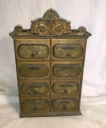 Antique Vintage Germany Tin Metal 8 Drawer Wall Hanging Spice Cabinet Rack 1800s