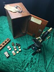 Rare Antique Vintage Charles Perry Brass Microscope With Original Wooden Box
