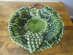 Andrea By Sadek Jay Willfred Majolica Leaf Grapes Footed Handled Platter Plate