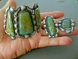 Native American Green Blue Turquoise Sterling Silver Bracelet Pin And Earrings Set