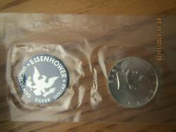1972 Us Mint Eisenhower Uncirculated Silver Dollar Coin Blue Envelope And Coa