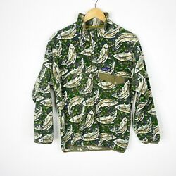 Synchilla Mens Green Fish Trout T-snap Fleece Pullover Jacket Size Xs