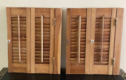 Two At 20 Tall X 16 Wide Wood Interior Louver Plantation Window Shutters