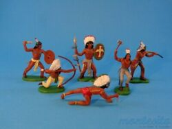 Britains Dsg Indians On Foot 6 Figures Far West Plastic Toy Soldiers