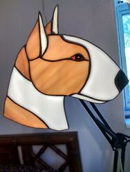 STAINED GLASS DOG BULL TERRIER RED AND WHITE