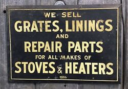 Vintage 30s Tin Over Cardboard We Sell Waverly Heating Supply Advertising Sign