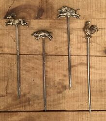 Collection Of 4 Rare Antique Original Butcher Shop Bakery Pewter Skewers French