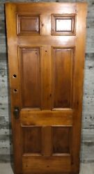 Antique Exterior Stained Wood French Entry Door 6 Panel Glass 34x81 /w Hardware