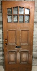 Antique Exterior Stained Wood French Entry Door 8 Light Triangle Glass 34x81