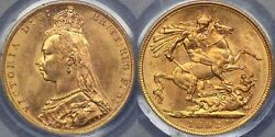 1893 Melbourne Jubilee Head Sovereign - Pcgs Ms62