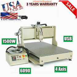 Usb 4 Axis Cnc 6090 Router 3d Engraving Machine Engraver Milling Cutter 1500w Us