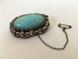 Antique Victorian 1920s Era Silver Turquoise Brooch Statement Jewellery