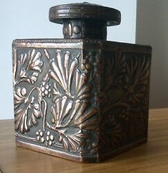 Outstanding Arts And Crafts Copper Caddy Glass Cabochon In Lid Prob J Pearson