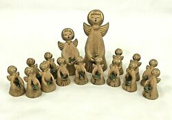 Vintage Angel Candle Holder Taper Set Paper Mache Gold 4.5 - 10 Christmas Italy