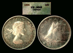 1955 Beautifully Toned Canadian Dime Graded Ms65 By Icg. Nice Color.
