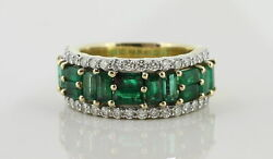 Ladies 14k Solid Yellow Gold Emerald And Diamond Cocktail Ring