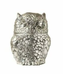 Vintage Italian Silver Plated Metal Owl Ice Bucket Made By Mario Manetti Design