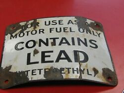 Vintage Porcelain Contains Lead Visible Gas Pump Warning Sign