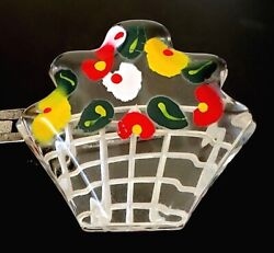 Vintage Button…best Lucite…large Basket Of Flowers Realistic