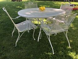 Woodard Wrought Iron Patio Outdoor Furniture 4 Mesh Chairs And Oval Dining Table