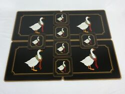 Pimpernel Christmas Goose Placemats 4 And Coasters 6  Euc