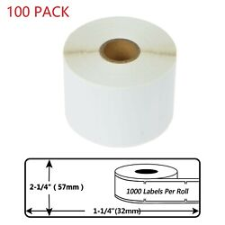 100 Roll Of 1000 Labels 30334 For Dymo Lw Xl 450 Twin Turbo 2 1/4 X 1 1/4