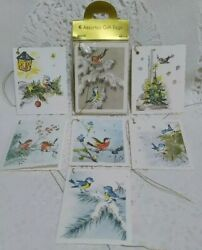 12 Vintage Christmas Gift Tags Labels Birds Mica Glitter Western Germany Cards🎄
