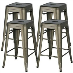 Metal Counter Height Bar Stool Kitchen Stools Backless Stackable Bar Set Of 4