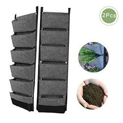 2 Packs Vertical Garden Hanging Pocket Wall Planters with 6 Pockets Gray