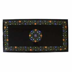 3and039x2and039 Black Marble Table Top Center Pietra Dura Inlay Living Room Decor Antique