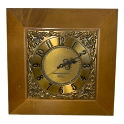 Vintage General Electric Wall Clock Brass Telechron Gold Mcm 2sa57 1950's Ge