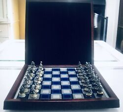 Civil War Union And Confederate Pewter Brass Chess Set By The Franklin Mint