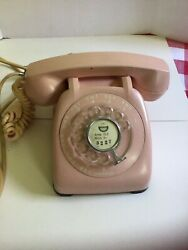 Vintage Rotary Monophone Dial Telephone Pink