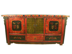A Chinese Antique Wood Cabinet Tv Table Gorgeous Flower Hand Painting