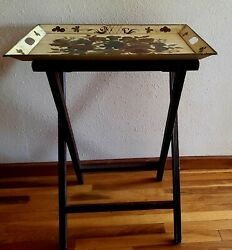 Vintage Butlers Wood Stand With Metal Serving Tray