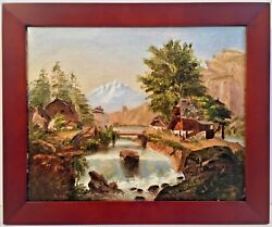 Circa 1850's American School Landscape Oil Painting W/ Goupil And Co. Canvas