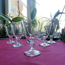 6 Glasses Wine Red Or White Crystal Daum Model Orval H 4 5/16in