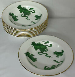 8 Wedgwood Williamsburg Green Chinese Tigers 8 1/4 Flat Rim Soup/cereal Bowls