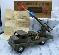 Structo Toys Gmc Coe Cab U.s. Army Green Missile Launcher Truck 1950's W/box