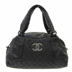 Quilting Boston Tote Bag 13th Leather Black