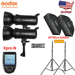 Us Godox Sk400ii 400w Flash Light Xpro-n For Nikon With 6090cm Softbox Stand
