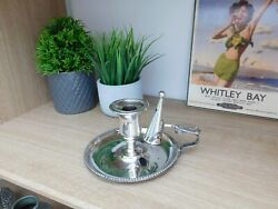 Antique Roberts And Belk Candle Holder And Snuffer Silver Plated C1910