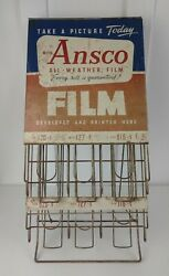 Vintage Ansco Camera Film Store Counter Or Wall Advertising Display Dispenser