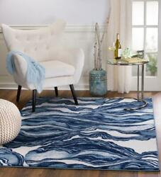 Madison 403 Blue Ivory Marble Modern Abstract Area Rug Carpet