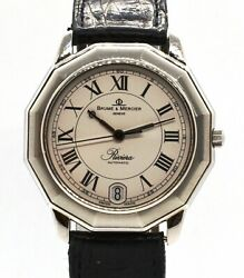 Men's 34mm Baume And Mercier Riviera Automatic Stainless Steel Leather Watch 3131