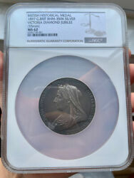 Ngc Ms62 Great Britain Uk 1897 Queen Victoria Diamond Jubilee Silver Medal