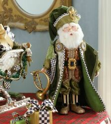 Mackenzie-childs Evergreen Santa Parchment Check And Courtly Check Accents - Rare
