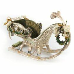 Mackenzie-childs Evergreen Sleigh Parchment Check And Courtly Check Accents-23.5
