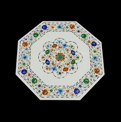 24and039and039 White Marble Table Top Center Corner Lapis Malachite Inlay Decor Antique L6